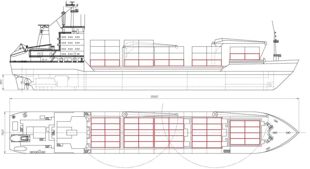 Расположение жилого уровня на палубе сухогруза обозначено красным цветом
