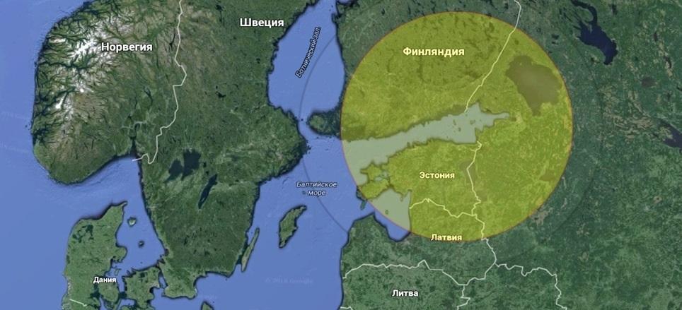 Приблизительная зона охвата радиоэлектронного мониторинга при установке оборудования на одном из островов Финского залива