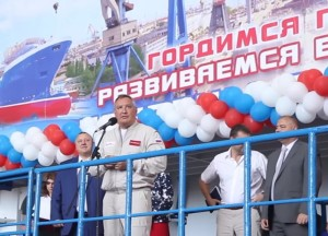Дмитрий Рогозин на верфи в Феодосии_2017г