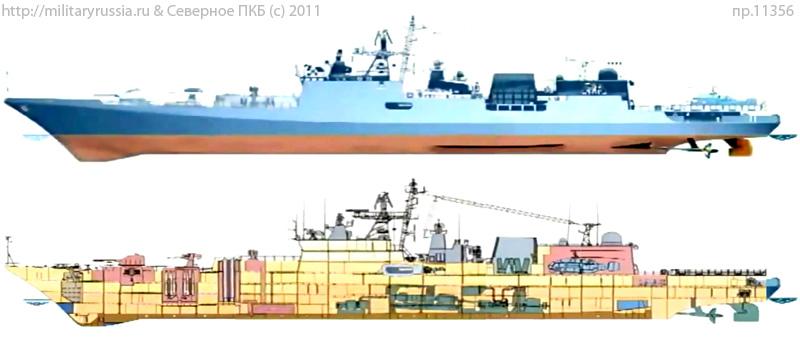 Проекции и разрез фрегата проекта 11356Р (http://militaryrussia.ru)