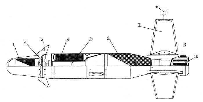 """Противотанковая ракета 9М131 """"Метис"""". Цифрами обозначены: 1 - первый заряд тандемной боевой части; 2 - воздушно-динамический привод полуоткрытого типа ; 3 - аэродинамические рули; 4 - маршевая двигательная установка; 5 - канал для кумулятивной струи ; 6- основной заряд тандемной боевой части; 7 - крылья ; 8 - трассер; 9 - катушка с проводом; 10 - стартовый двигатель."""