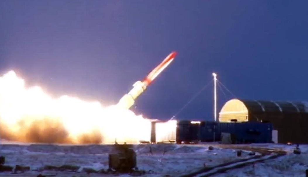 """Один из первых испытательных пусков прототипа ракеты """"Буревестник"""" (http://mil.ru)"""