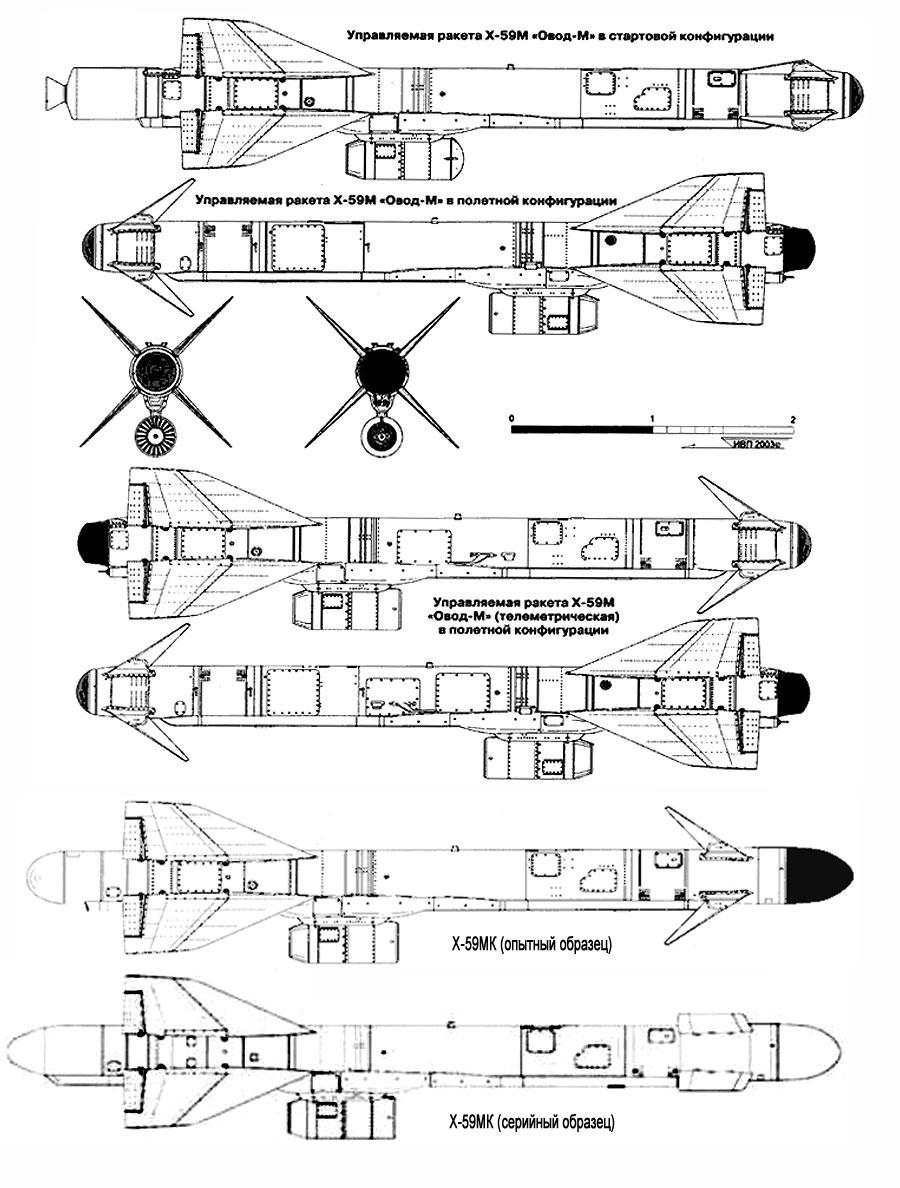 "Проекции ракет Х-59М ""Овод-М"" и Х-59МК"