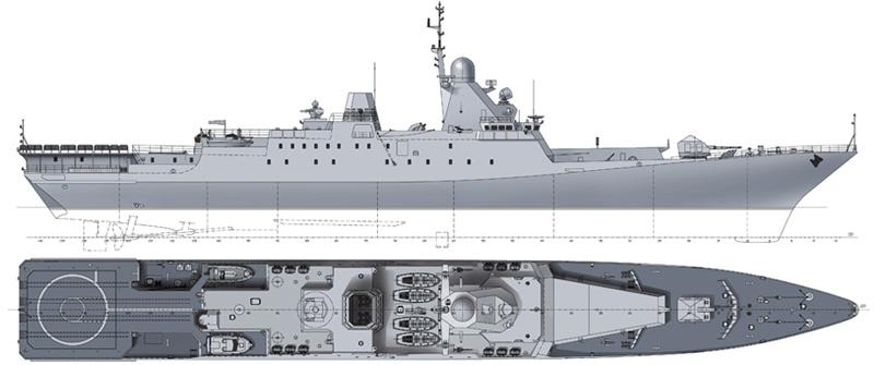 """Учебный корабль """"Бородино"""" проекта 12441У, вариант компоновки (http://www.militaryphotos.net)"""