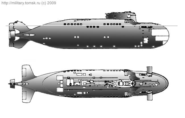 """Проекции подводной лодки проекта 865 """"Пиранья"""""""