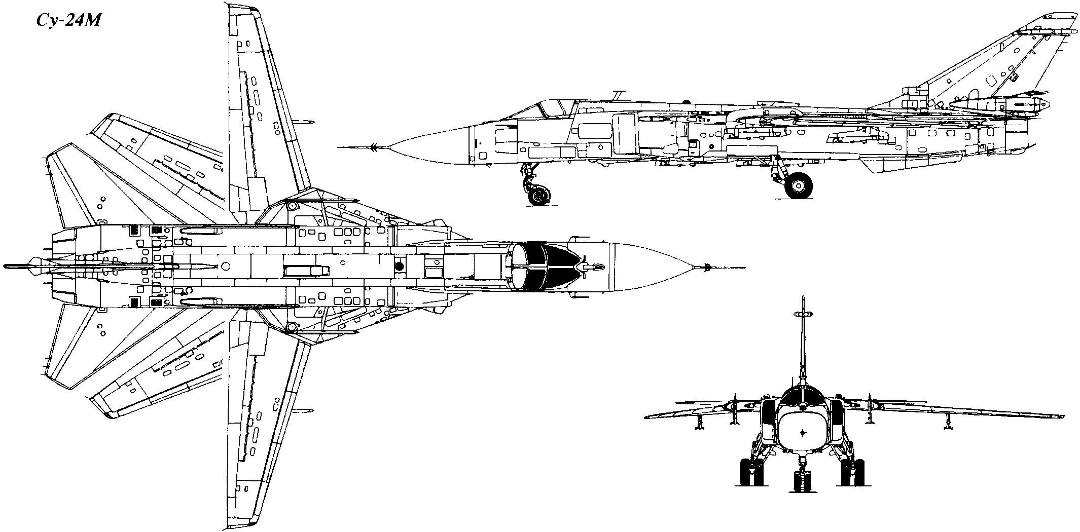 Проекции фронтового бомбардировщика Су-24М (http://aviadejavu.ru/)