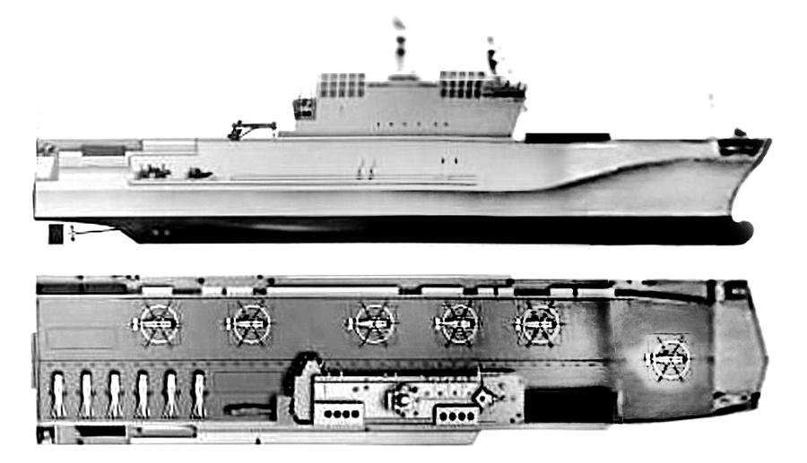 Примерные проекции универсального десантного корабля пр.23900