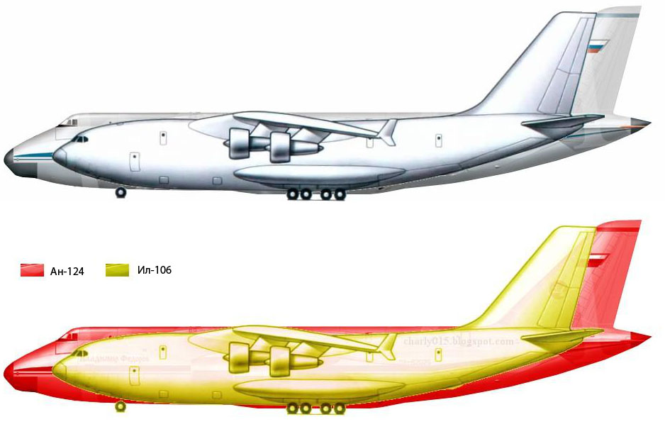 """Сравнение размеров будущего Ил-106 и транспортного самолета Ан-124 """"Руслан"""""""